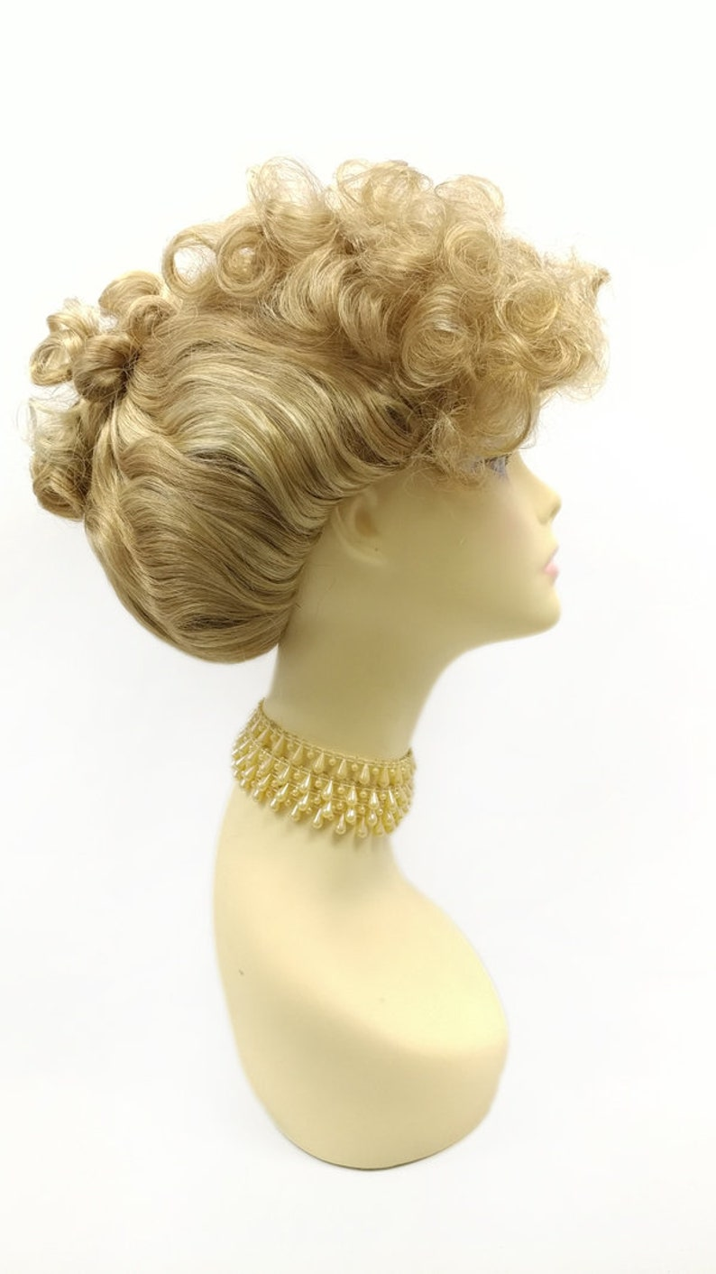 Edwardian Gloves, Handbag, Hair Combs, Wigs Strawberry Golden Blonde Mix Curly Updo Wig. Colonial Victorian Grandma Costume Wig. [151-734-Victoria-27BH24] $59.99 AT vintagedancer.com