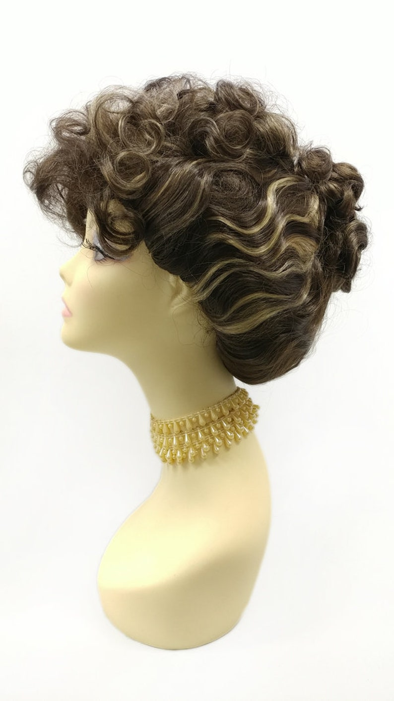 Edwardian Gloves, Handbag, Hair Combs, Wigs Brown with Golden Blonde Streaks Curly Updo Wig. Colonial Victorian Grandma Costume Wig. [151-733-Victoria-6H24] $59.99 AT vintagedancer.com