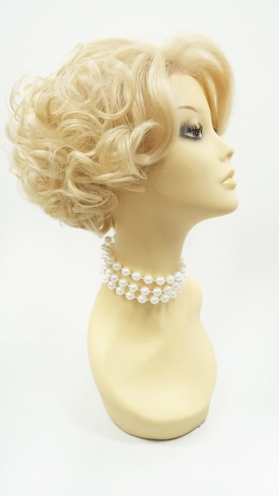 Vintage Hair Accessories: Combs, Headbands, Flowers, Scarf, Wigs Lace Front Short Blonde Retro Curly Wig. Doris Day Style Wig. Vintage Style Heat Resistant Wig. [72-370-LFDoris-613] $59.99 AT vintagedancer.com