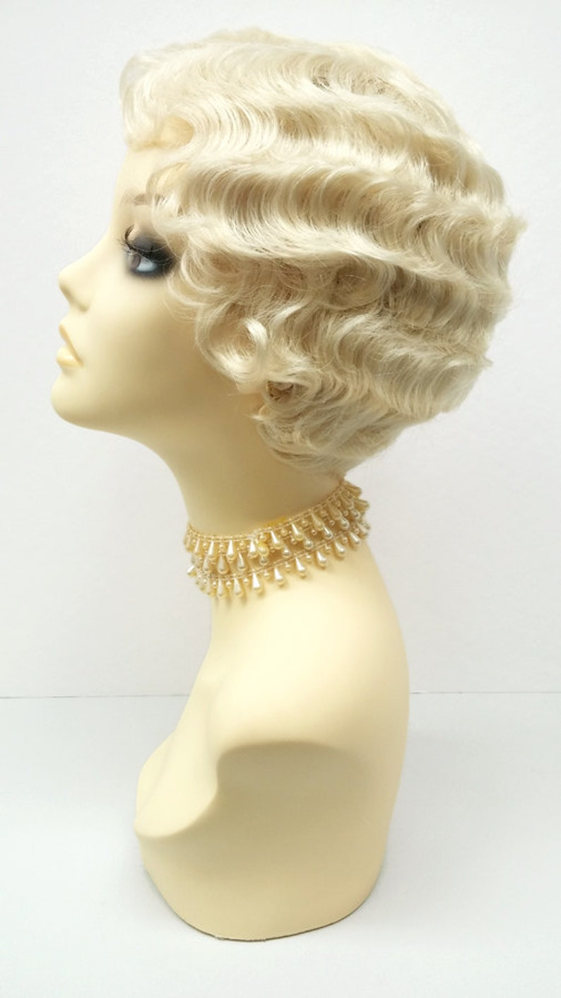 1920s Flapper Headband, Gatsby Headpiece, Wigs 1920s Style Short 613 Blonde Finger Wave Wig. Marcel Wave Vintage Style Costume Wig. Heat Resistant Wig. [69-355-HTBebe-613] $39.99 AT vintagedancer.com