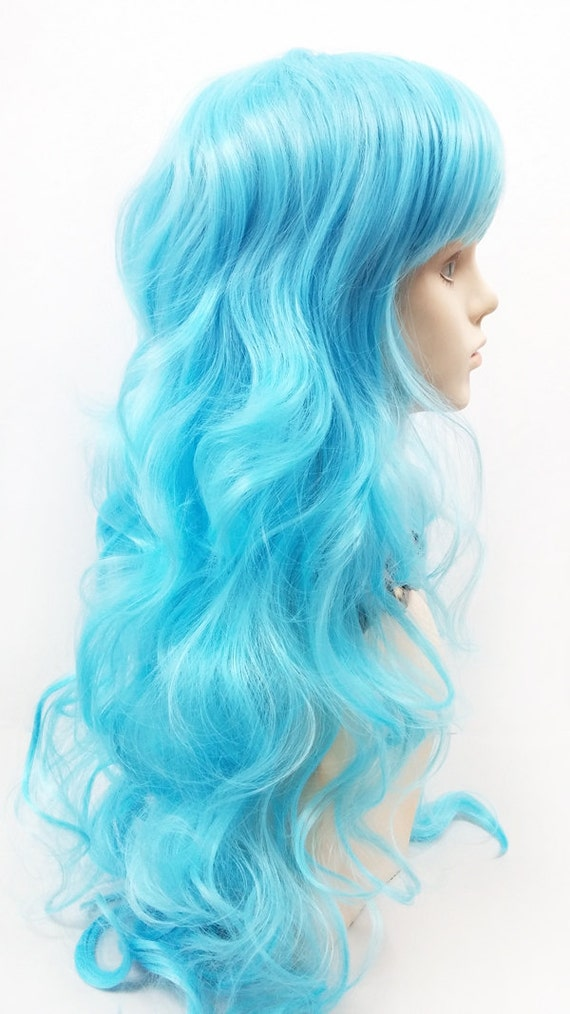 Long 25 Inch Wavy Light Blue Color Wig With Bangs Sky Blue Etsy