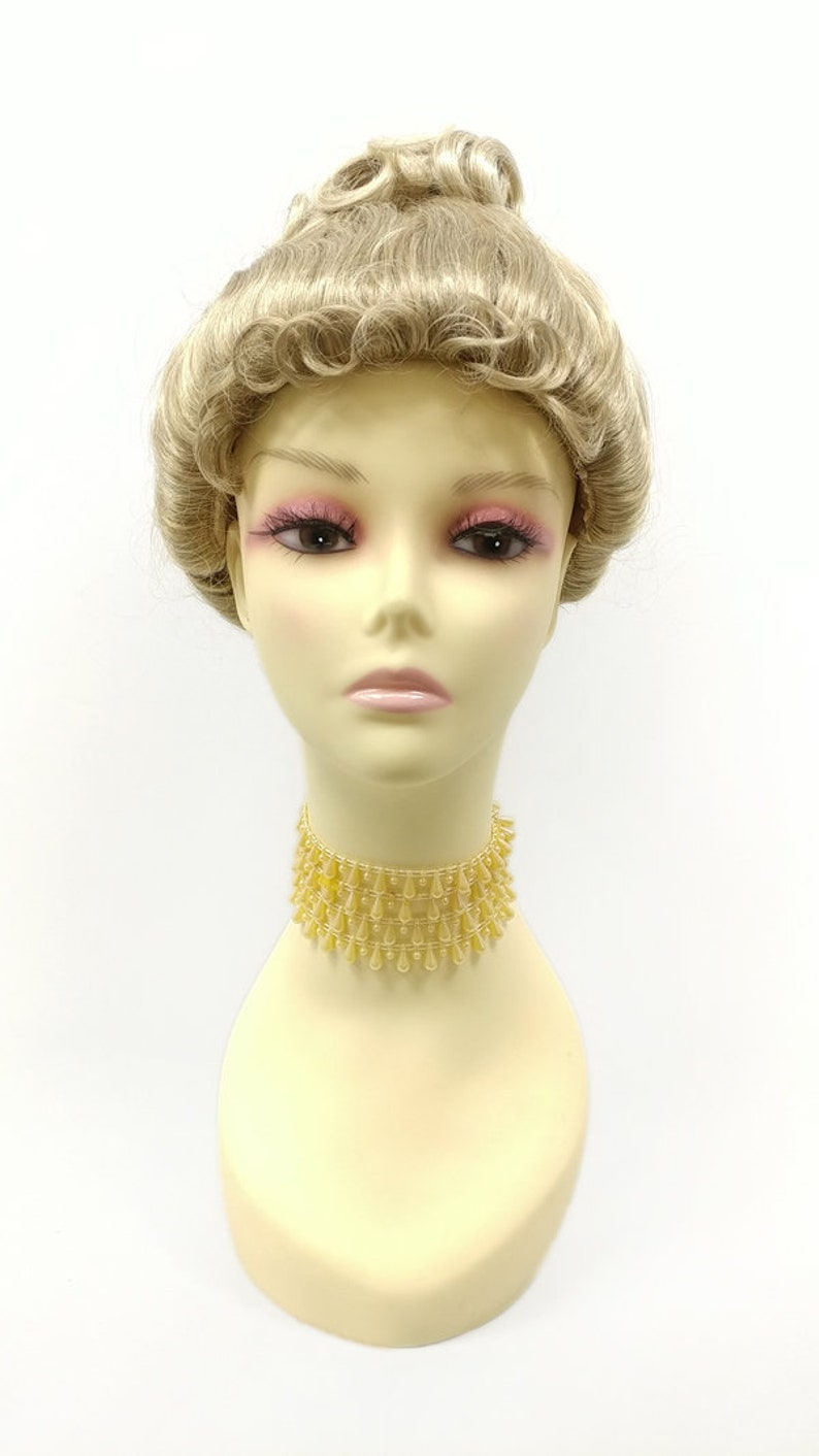 Edwardian Gloves, Handbag, Hair Combs, Wigs Light and Dark Blonde Mix Upstyle Costume Wig. Victorian Inspired Wig. Colonial Style Wig [28-173-Updo-16/613T] $45.99 AT vintagedancer.com