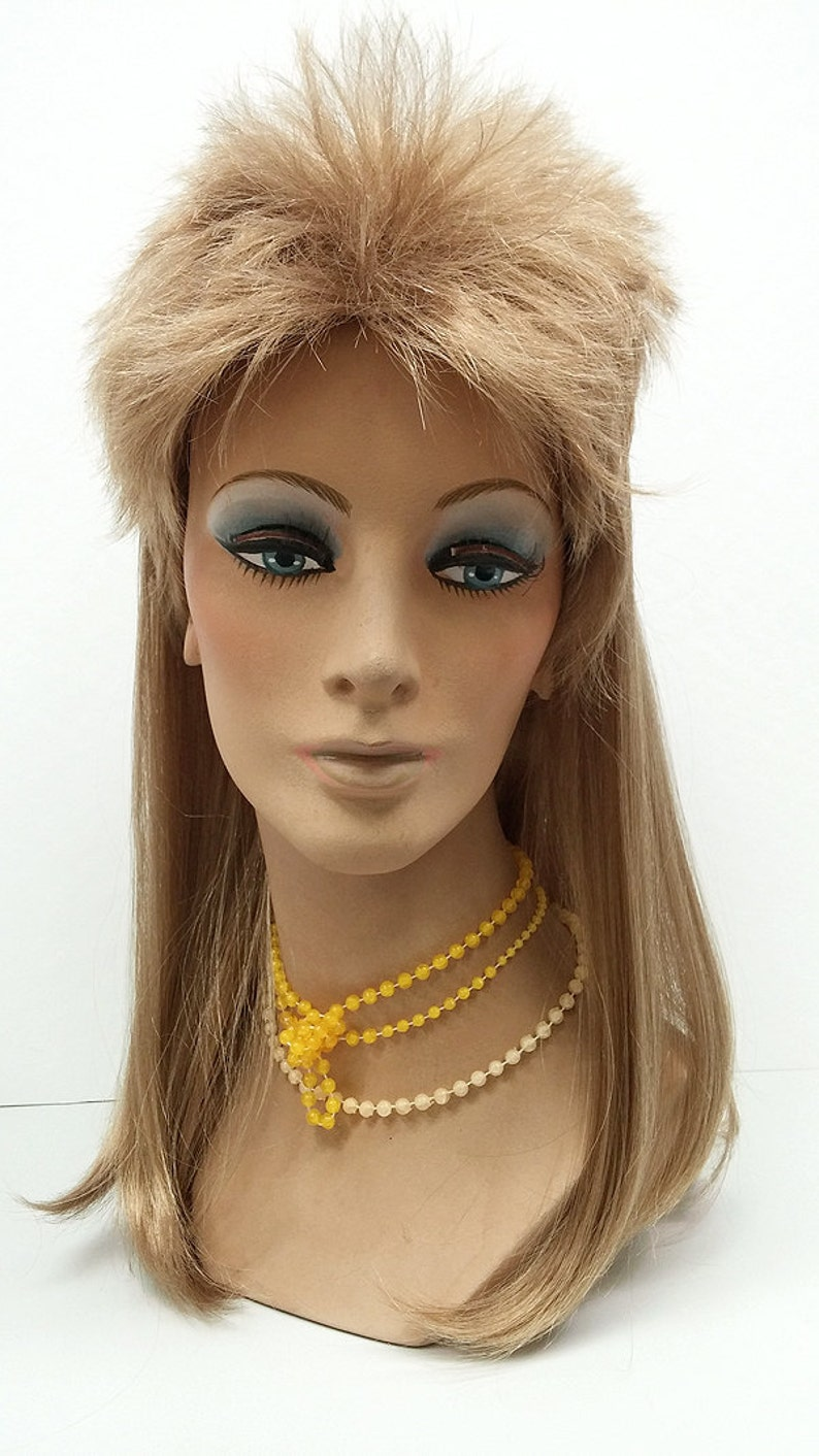 80s Costumes, Outfit Ideas- Girls and Guys 17 inch Long Joe Dirt Style Mullet Wig. Mens Dirty Blonde Mullet Wig. Dark Blonde Wig [59-314-Mullet-DBlonde] $39.00 AT vintagedancer.com