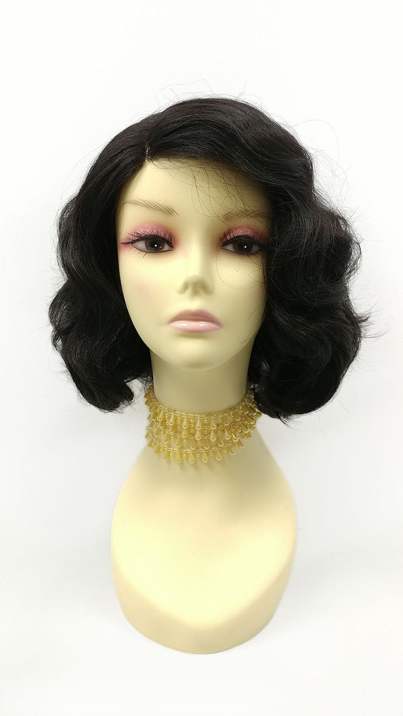 1940s Hair Snoods- Buy, Knit, Crochet or Sew a Snood 10 Inch Off Black Soft Retro Waves Lace Front Wig. Lace Side Part Heat Resistant Wig. [161-782-Kassie-1B] $69.99 AT vintagedancer.com