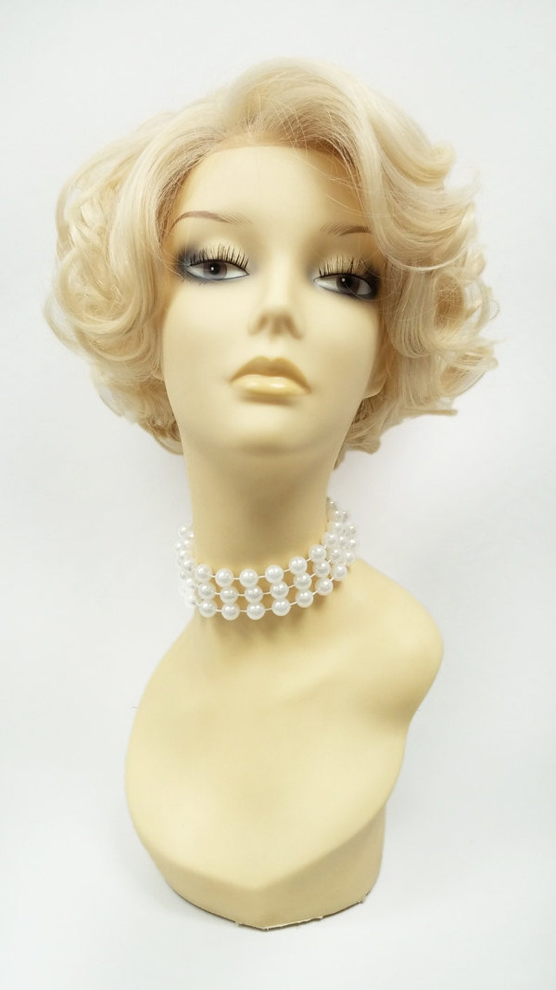50s Hair Bandanna, Headband, Scarf, Flowers | 1950s Wigs Lace Front Short Blonde Retro Curly Wig. Vintage Style Heat Resistant Wig. [72-370-LFDoris-613] $69.99 AT vintagedancer.com