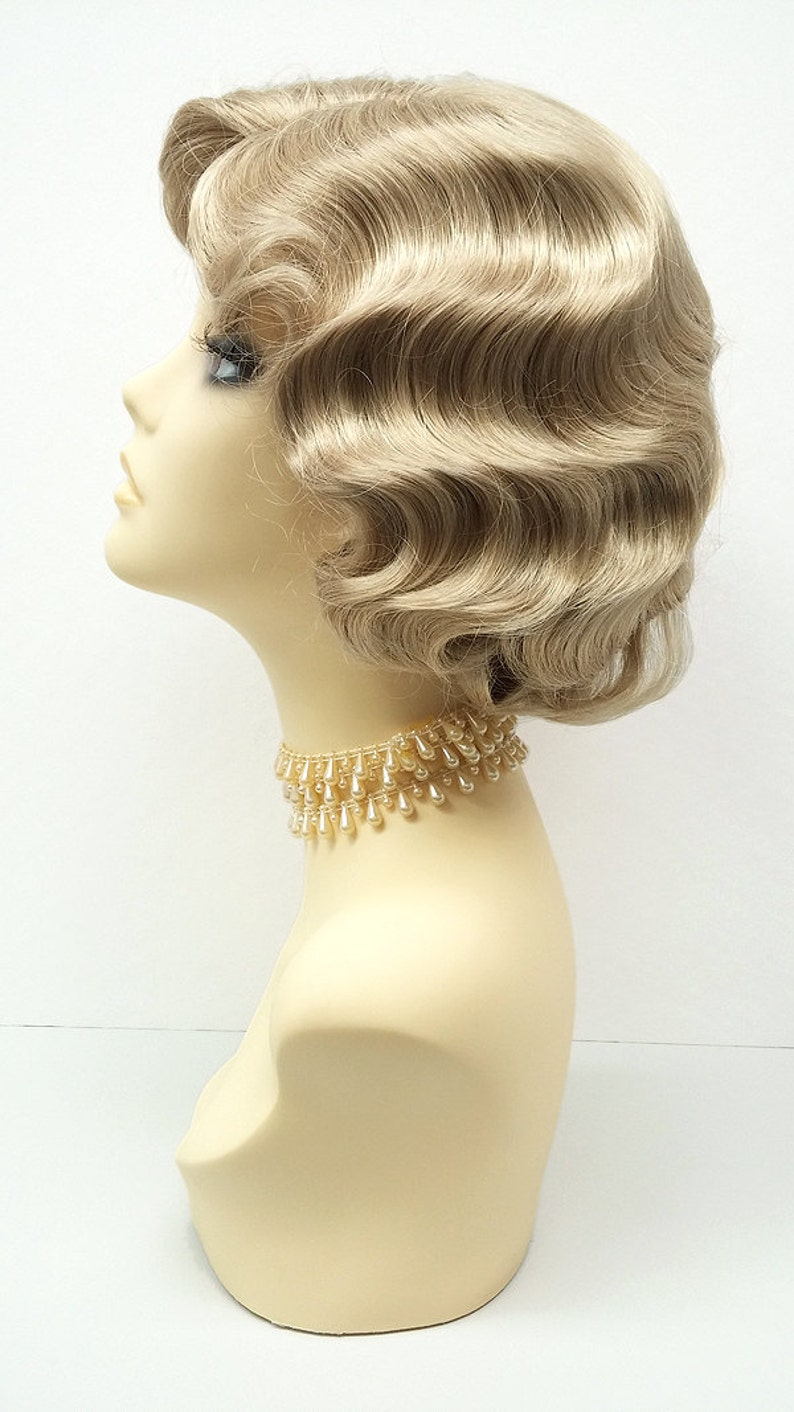 1920s Flapper Headband, Gatsby Headpiece, Wigs 1920s Style Short Dirty Blonde Finger Wave Wig. Vintage Style Costume Wig. [02-14-Rosie-24] $39.99 AT vintagedancer.com
