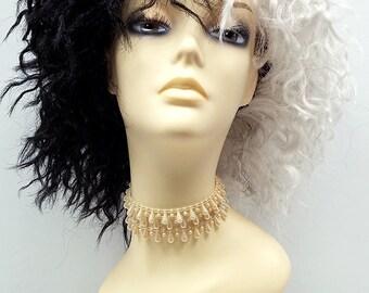 Black and White Two Tone Wig. Cruella Wig. Costume Cosplay Wig. Witch Wig. [29-172-Cruella-B/W]
