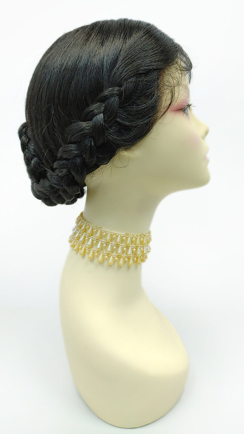 Edwardian Gloves, Handbags, Hair Combs, Wigs Off Black Lace Front Braided Chignon Bun Wig. Center Part Heat Resistant Heidi Wig [176-841A-Claire-1B] $79.95 AT vintagedancer.com