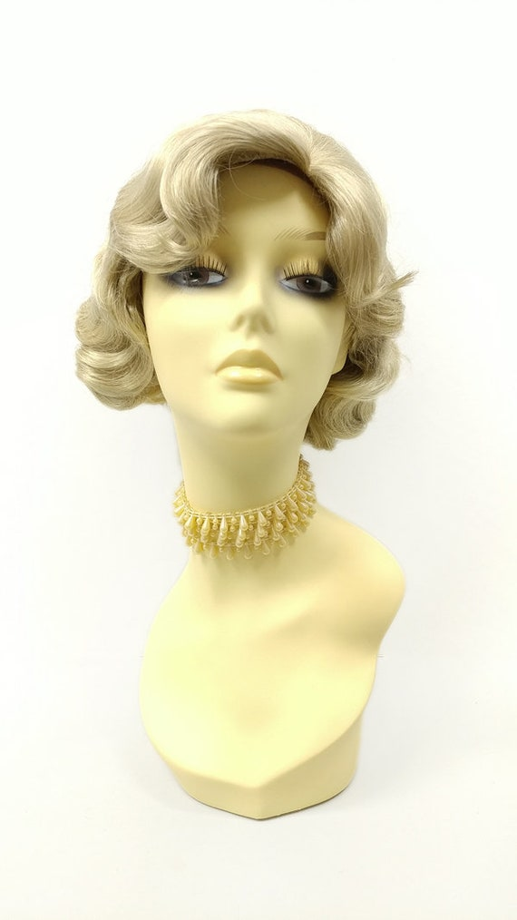 1920s Flapper Headband, Gatsby Headpiece, Wigs 1920s Style Short Light Ash Blonde Finger Wave Wig. Vintage Style Costume Wig. [02-14B-Rosie-22] $39.99 AT vintagedancer.com