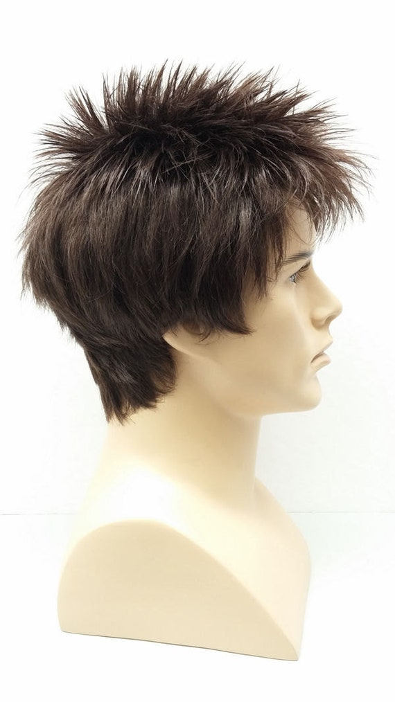 11/'/' Short Messy Spiky Chocolate Brown Synthetic Cosplay Wig NEW