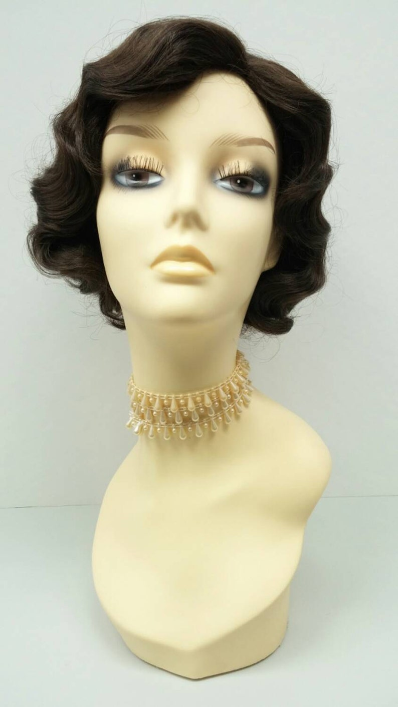1920s Headband, Headpiece & Hair Accessory Styles 1920s Style Short Dark Brown Finger Wave Wig. Vintage Style Costume Wig. [02-11-Rosie-6] $39.99 AT vintagedancer.com