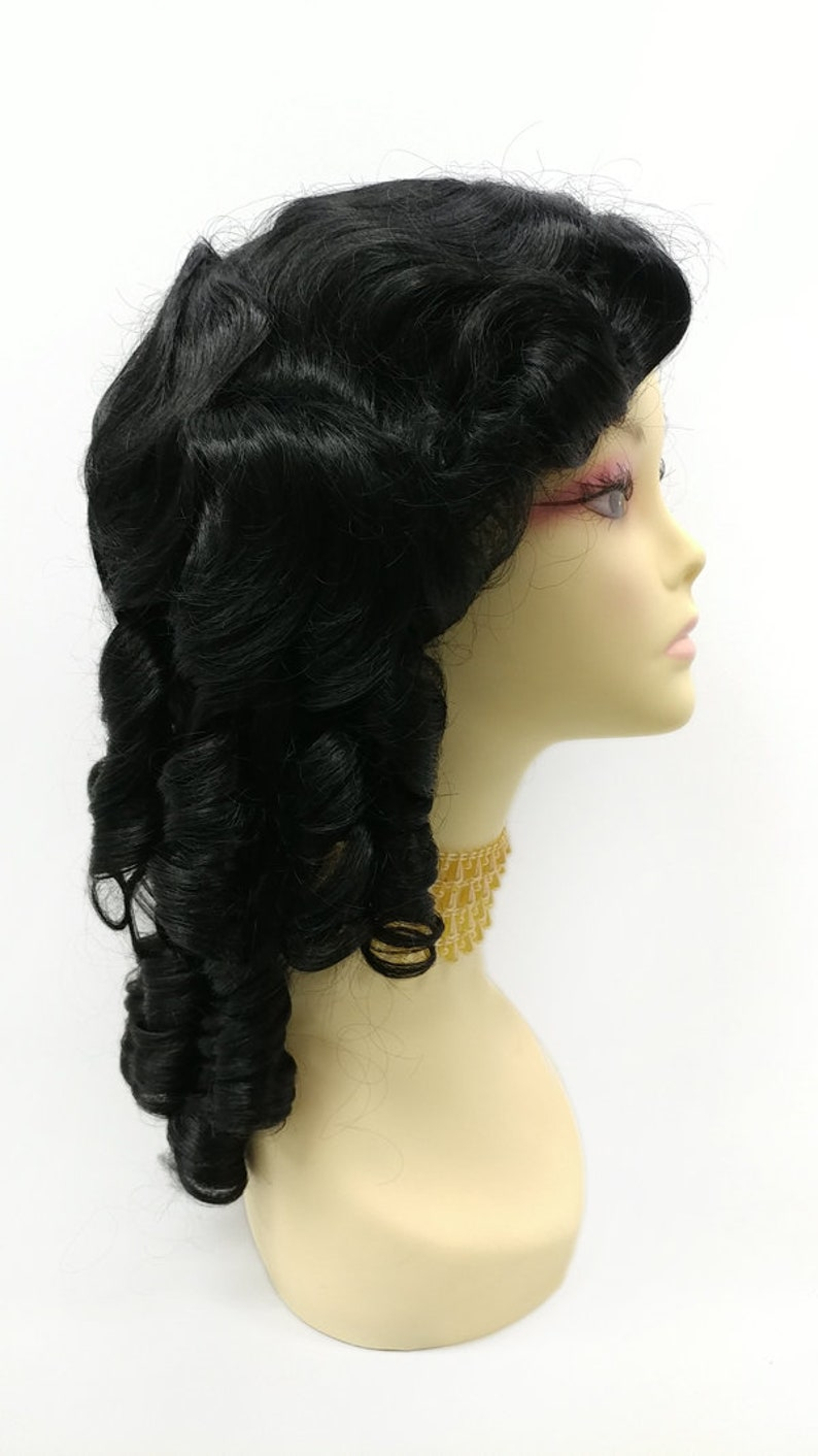 Edwardian Gloves, Handbag, Hair Combs, Wigs 16 Inch Unisex Jet Black Long Curly Colonial Wig. 1700s Style Ringlets Wig. Historical Costume Cosplay Wig [152-737-Remington-1] $55.99 AT vintagedancer.com