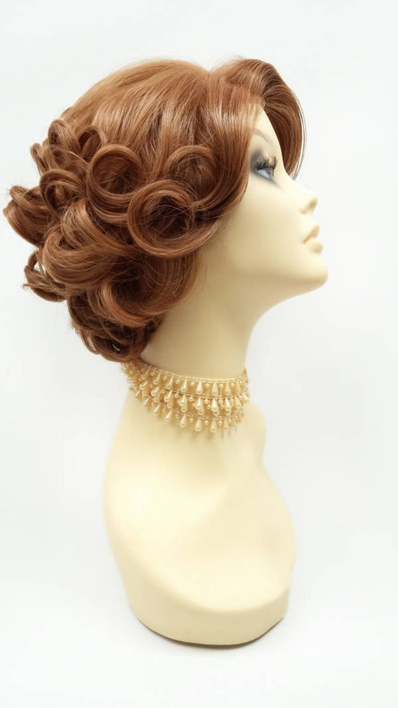 Edwardian Gloves, Handbag, Hair Combs, Wigs Lace Front Short Strawberry Blonde Retro Curly Wig. Doris Day Style Wig. Vintage Style Heat Resistant Wig. [72-368B-LFDoris-27] $69.99 AT vintagedancer.com