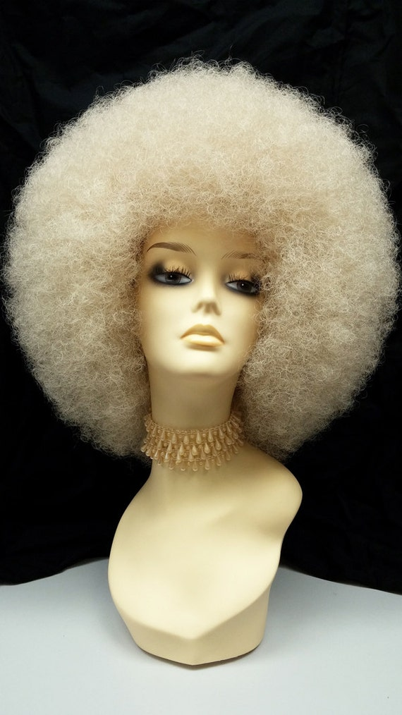 Vintage Hair Accessories: Combs, Headbands, Flowers, Scarf, Wigs Large Blonde Afro Synthetic Costume Wig [96-475-LAfro-613] $45.99 AT vintagedancer.com
