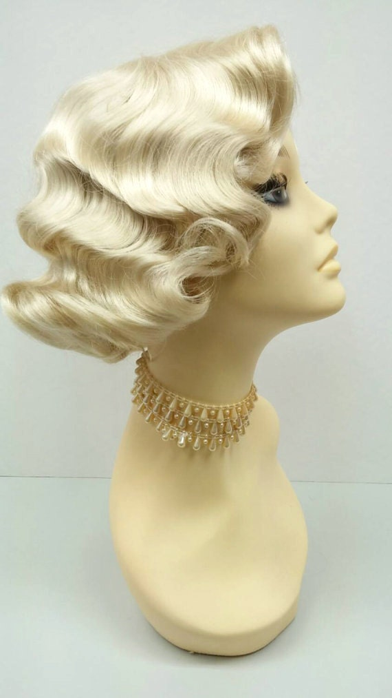 Vintage Hair Accessories: Combs, Headbands, Flowers, Scarf, Wigs 1920s Style Short Blonde Finger Wave Wig. Vintage Style Costume Wig. [02-15-Rosie-613] $39.99 AT vintagedancer.com