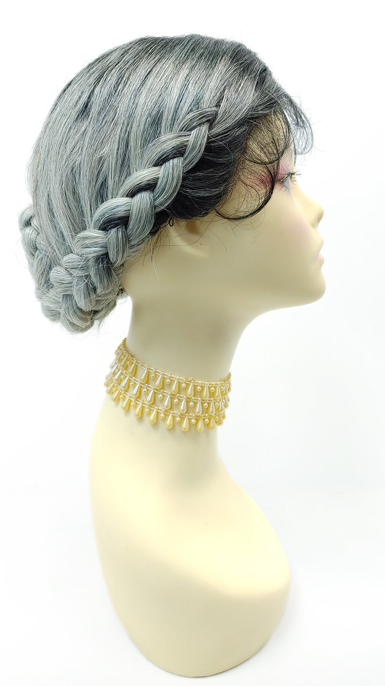 Victorian Wigs, Hair Pieces  | Victorian Hair Jewelry Smoky Teal Gray Lace Front Braided Chignon Bun Wig. Center Part Heat Resistant Heidi Wig [176-841E-Claire-TTB/STG] $79.99 AT vintagedancer.com