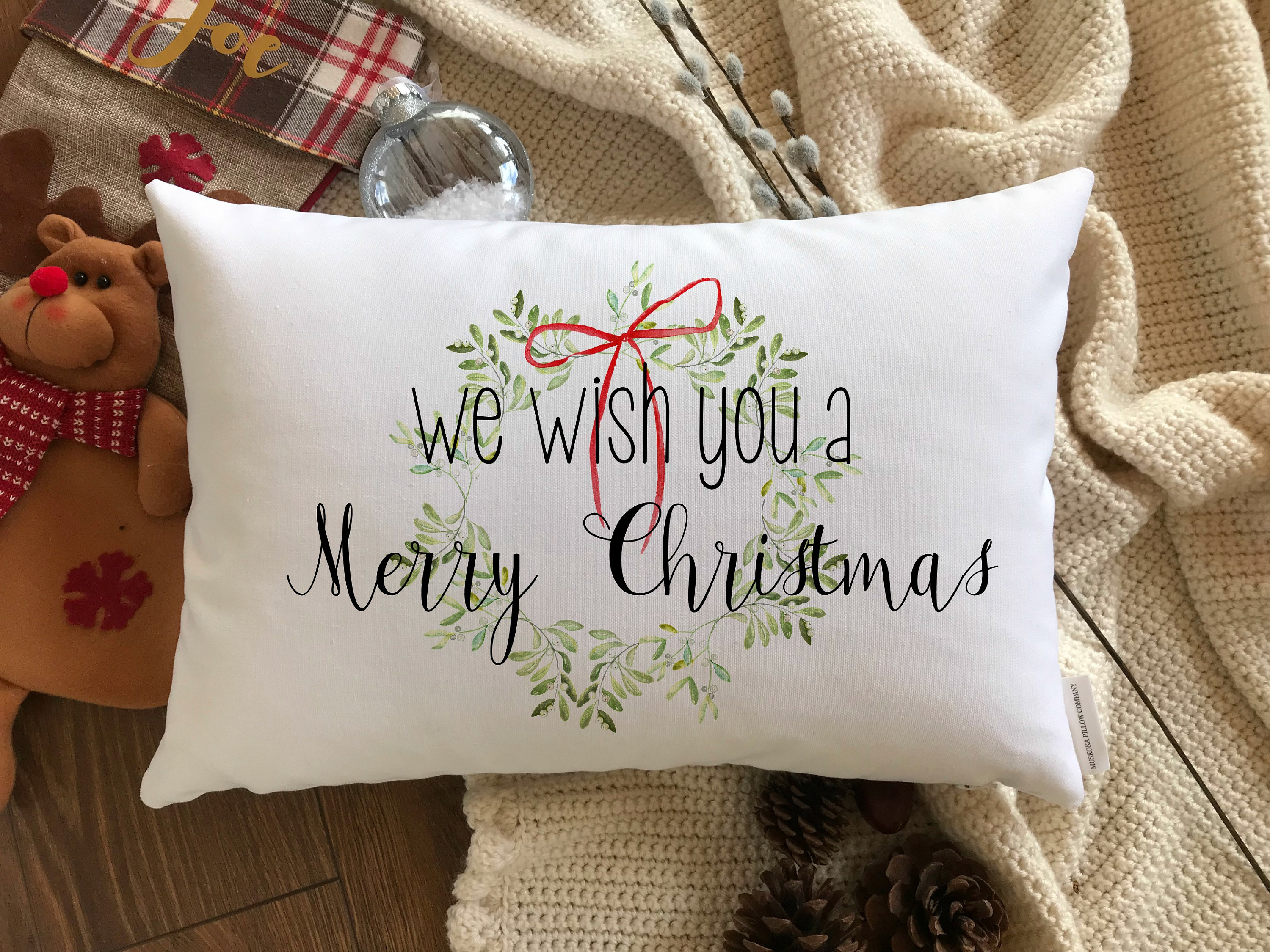 we wish you a merry christmas pillow cover mistletoe wreath pillow cover christmas pillows multiple sizes holiday decor