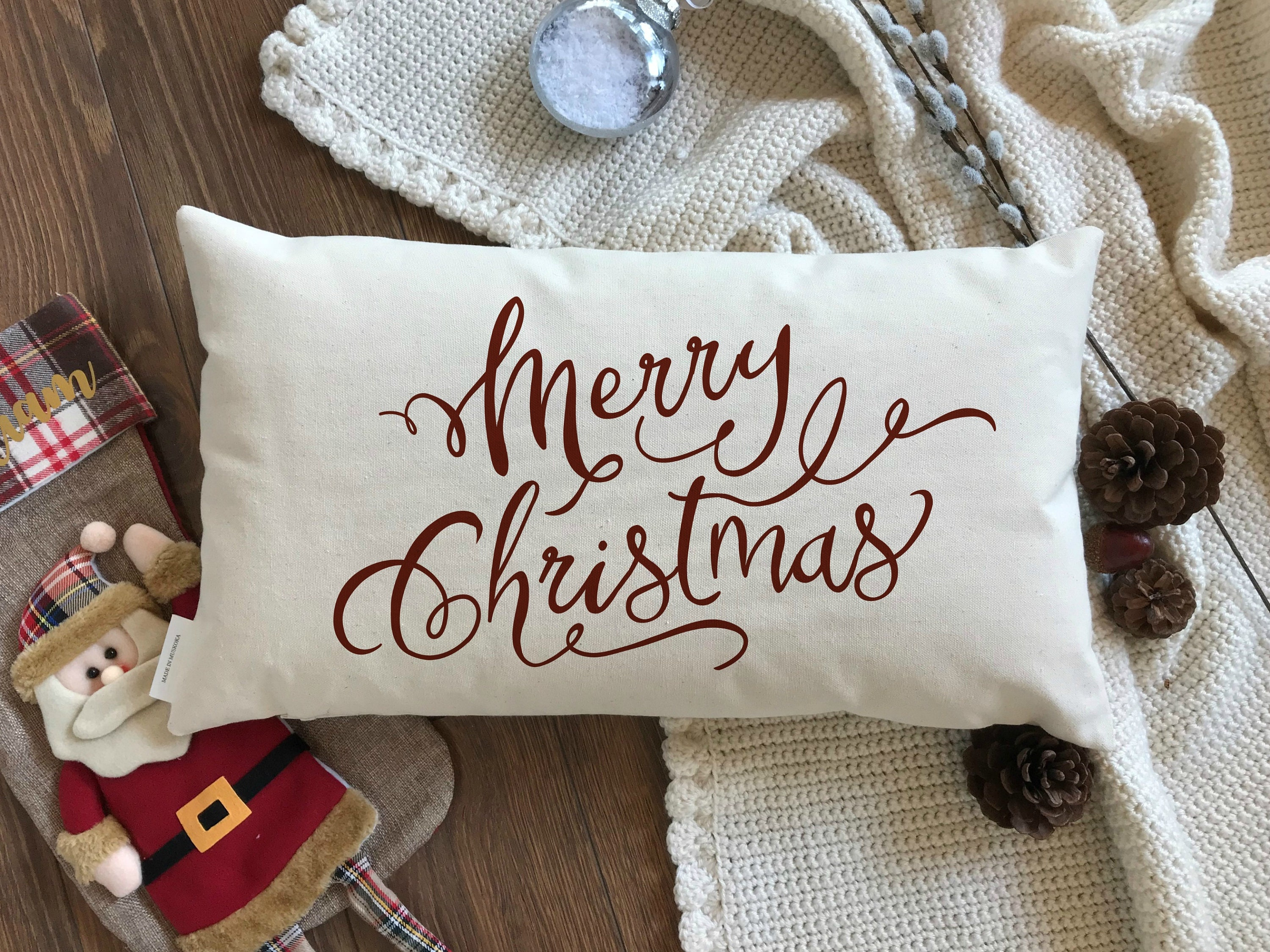 Merry Christmas Decorative Throw Pillow Christmas Toss Pillow