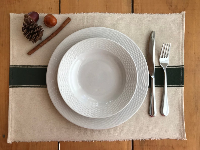 Farmhouse Placemat Ivory Canvas with Forrest Green Stripe Grainsack Placemat with Wide Stripe Rustic Placemat with Grain Sack Stripe