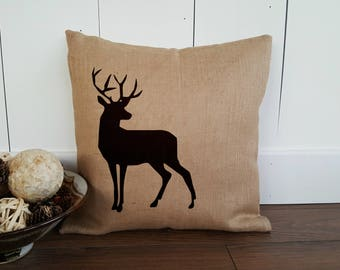 Stag Pillow Cover with Antlers | Decorative Throw Cushion | Cottage Throw Pillow | Deer Pillow Cover | Rustic Pillows