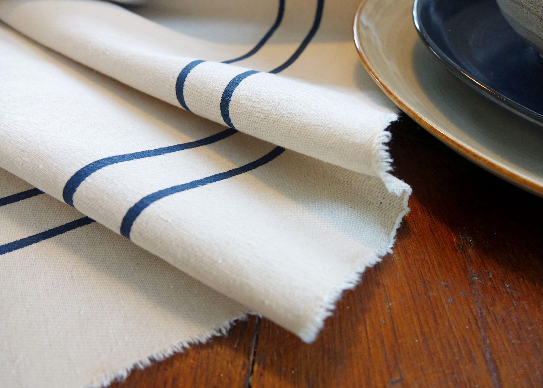 Table Runner With Grain Sack Stripes | Cream Cotton Table Runner With  Stripes | Multiples Lengths | 16 Inch Wide Table Runner With Stripes