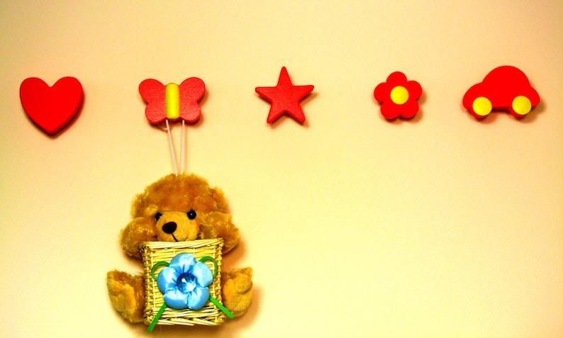 Set of 5 redyellow kids wall hooks-Coat hanger Wall hanger-Kids wall rack-Hooks and fixtures-Wall hook nursery