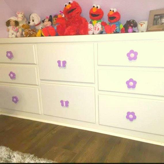 Kids Drawer Pulls Wood Drawer Knobs Decorative Door Knobs Flower Dresser  Decor Blue Dresser Drawer Handles Girl Room Decorations Möbelgriffe