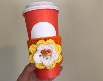 Minnie or Mickey candy corn crochet cozy, halloween coffee cozy/sleeve, cup cozy, fall style