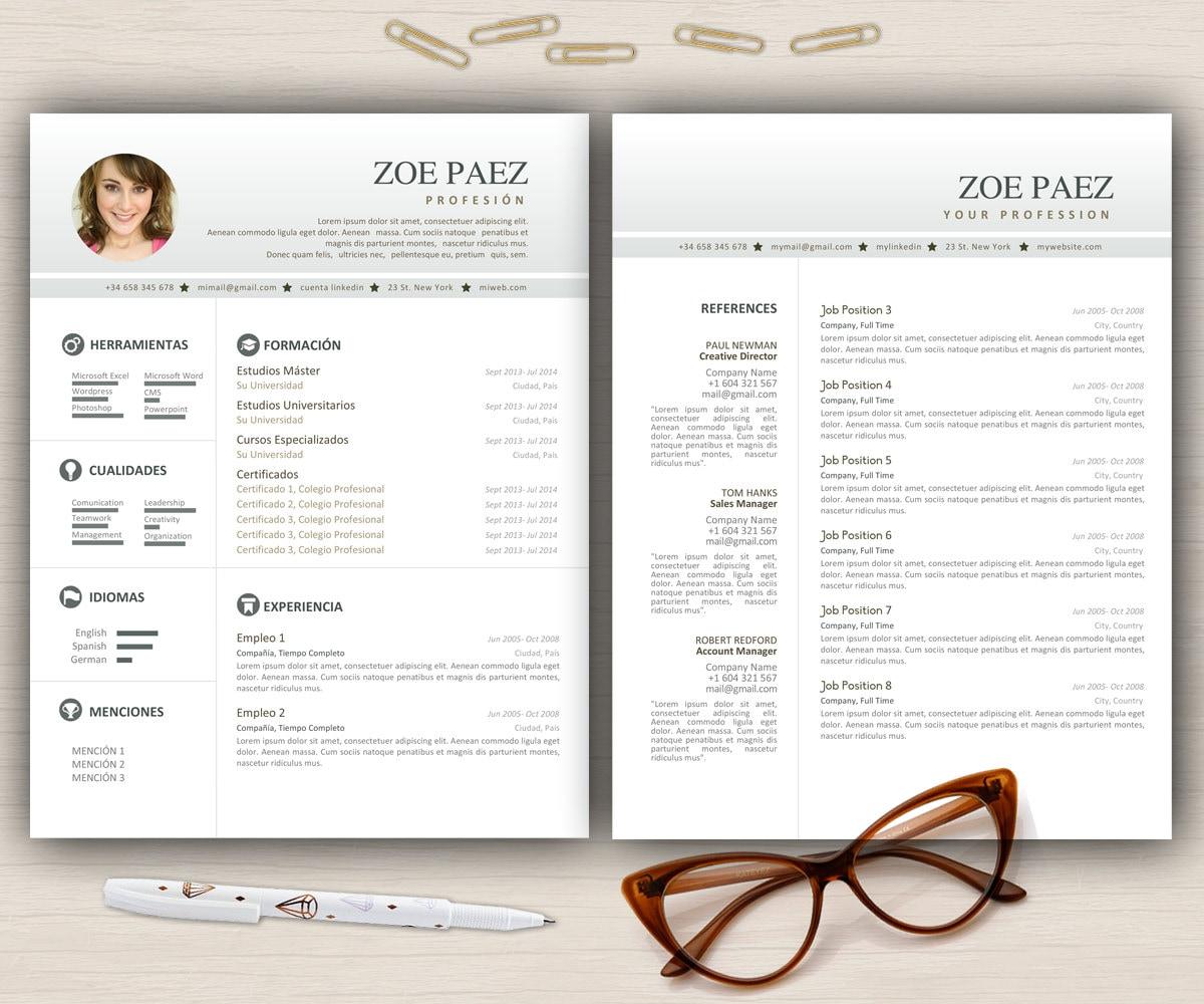 Plantilla de curriculum vitae Carta de presentación 2 pag CV | Etsy