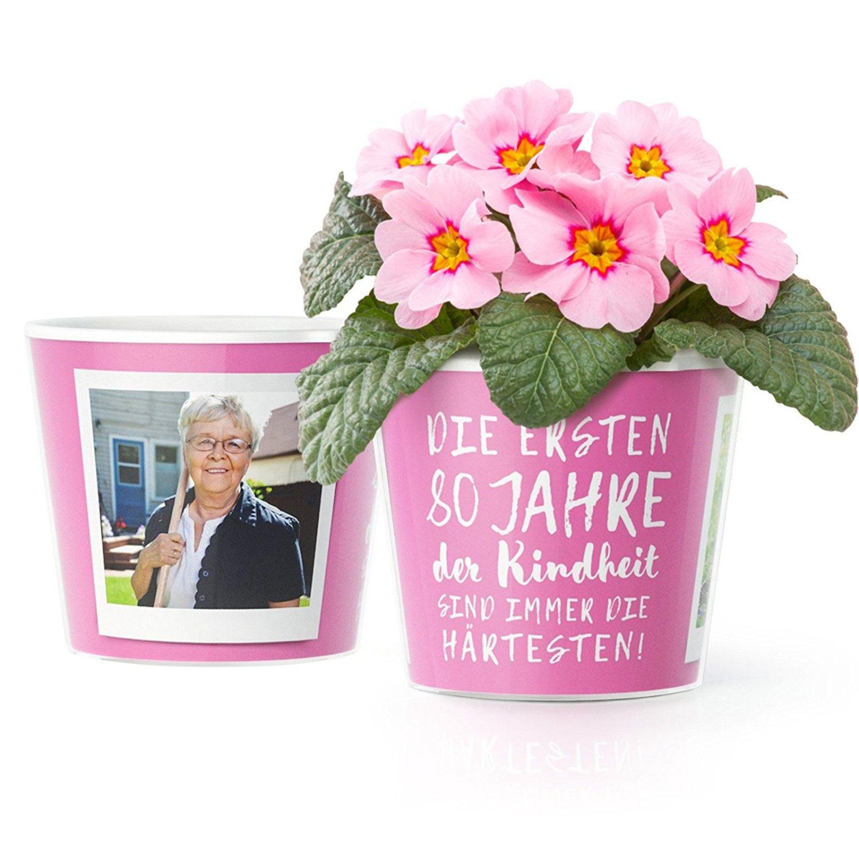 80. Geburtstag Geschenk Blumentopf ø16cm mit Bilderrahmen | Etsy