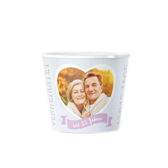 33 Hochzeitstag Geschenk Blumentopf Deko Geschenke Zur Zinnhochzeit Mit Bilderrahmen Für Foto 10x15 Glücklich Verheiratet 33 Jahre