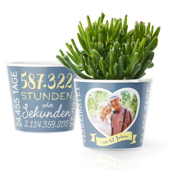67 Hochzeitstag Geschenk Blumentopf Zur Steinerne Hochzeit Mit Bilderrahmen Für 1 Foto 10x15cm Glücklich Verheiratet 67 Jahre