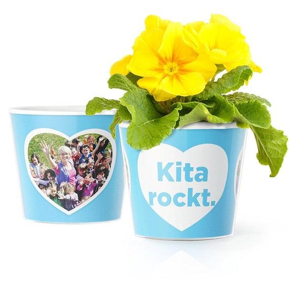 Kindergarten Geschenk Für Erzieherinnen Und Erzieher Blumentopf ø16cm Mit Bilderrahmen Für Zwei Fotos 10x15cm Kita Rockt