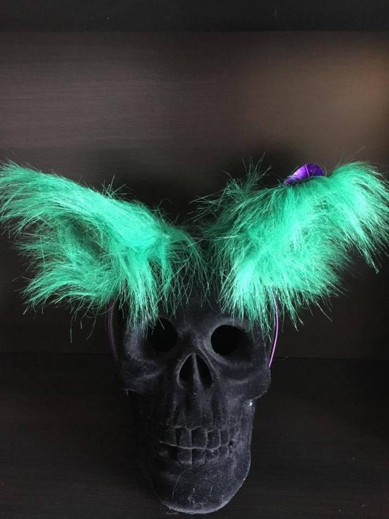 Only Joking faux fur ear headband purple and green fox image 0