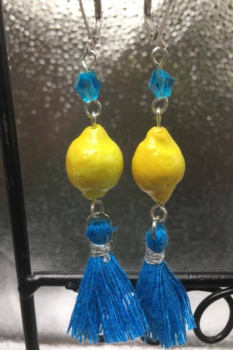 Blue Lemonade polymer clay tasseled earrings image 0