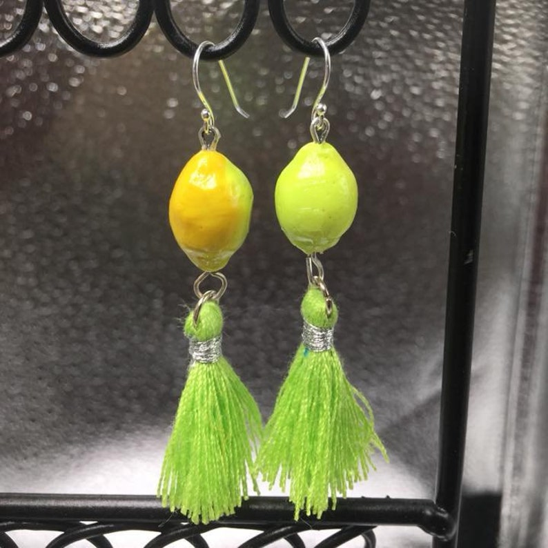 Limon yellow and lime colored festive tassel earrings image 0