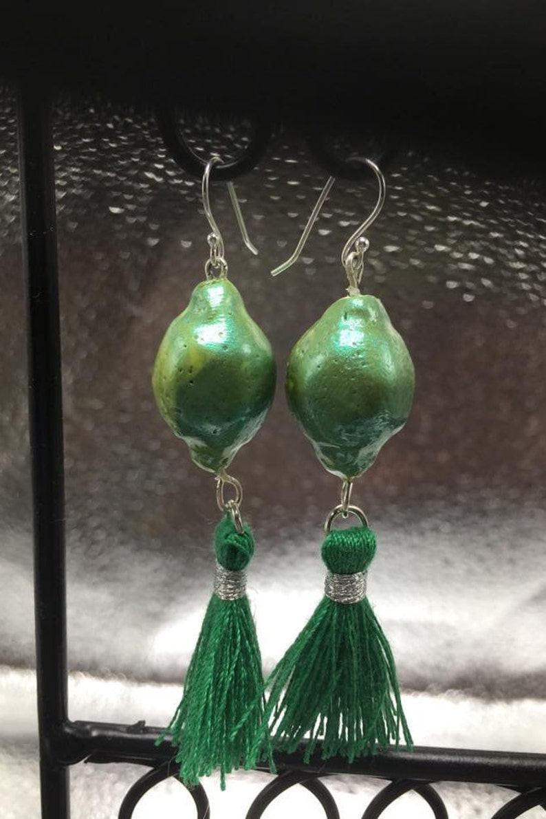 Limey: polymer clay pearlescent tassel earrings image 0