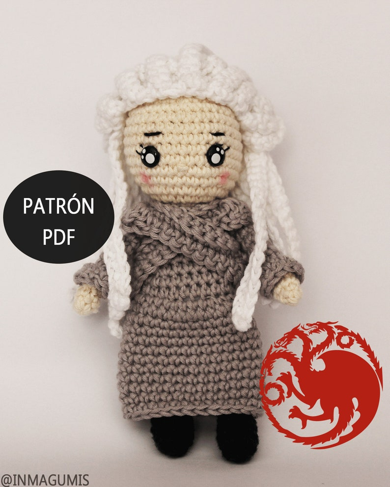 Daenerys Targaryen doll crochet pattern / mother of dragons image 0