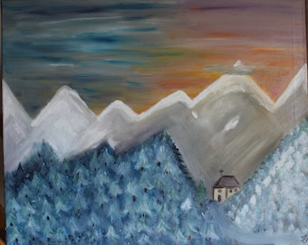 Figurative painting - Painting Figurative oil mountain Nevada frame 60 x 71 cms