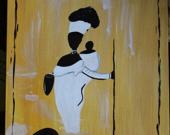 Painting Figurative African woman carrying her child / Figurative Painting African woman and child
