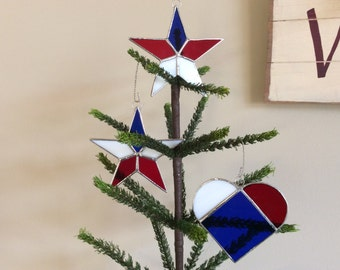 3 Stained Glass Patriotic Sun Catchers 2 Stars 1 Heart  Ornaments Star Tree Topper