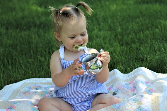 397f6bb1e8ee Infant Toddler Seersucker Romper with Eyelet Ruffles Blue