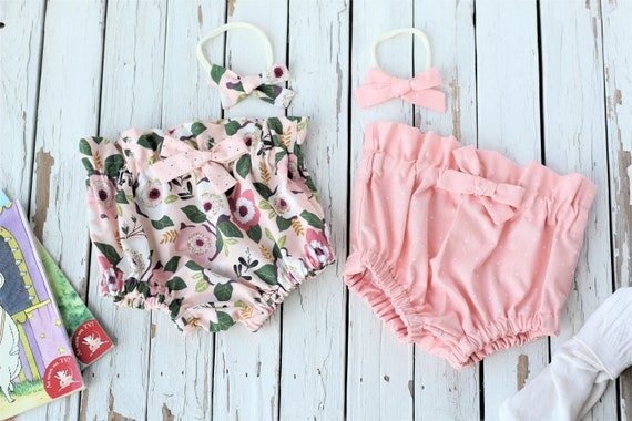 98b8e1c7c19c Little Girls Spring Bloomers Peach Plum Floral Bloomers Baby