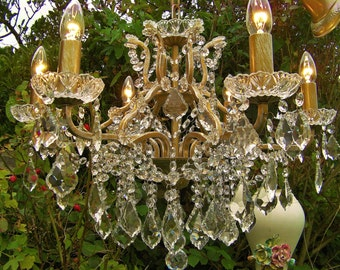 GORGEOUS ~ ~ ANTQ/VINT Style French 6 Light Brass Chandelier