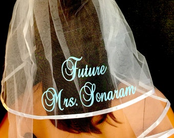 Bachelorette Party Veil, Bride To Be Veil, PERSONALIZED Monogrammed Veil, Bridal Shower Veil, Veil By Val's Veils