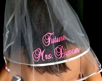 Bridal Veil, Hen Party Veil, Bachelorette Veil, Wedding Veil PERSONALIZED Monogrammed Veil, Bride To Be Veil - SHINY, By Val's Veils