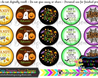 INSTANT DOWNLOAD - Halloween Sayings inspired 4x6 One Inch Digital Bottle Cap Images