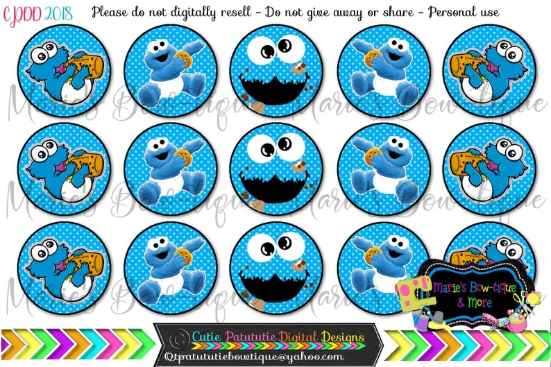 Instant Download Baby Cookie Monster Inspired 4x6 One Inch Digital Bottle Cap Images