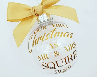 Christmas Bauble, First Christmas as Mr & Mrs, Wedding Keepsake, Christmas Bauble, Personalised Bauble, Tree Decoration,