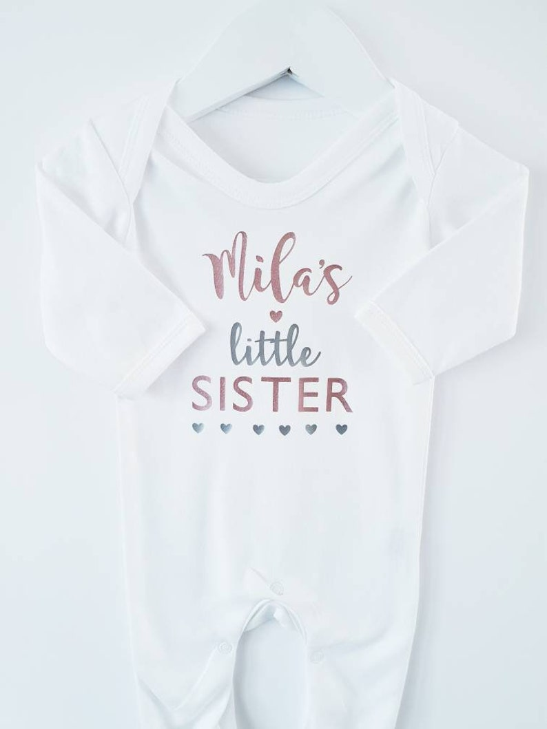 b2fba2fa Personalised Little Sister Baby Grow Sleep Suit Newborn Baby | Etsy